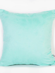 Cyan Color Suede Cushion Cover