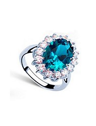 Crystal Ring Silver Plated Gem Rings Fashion Jewelry for Women Wedding Engagement Ring
