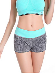 Yoga Pants Shorts Breathable / Wicking Dropped High Elasticity Sports Wear Green / Black / Dark Pink / Light Pink