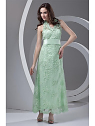 Prom Formal Evening Dress - Lace-up Sheath / Column Halter Ankle-length Lace with Lace Sash / Ribbon