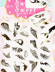 Feather Metal Gold Lovely 3D Nail Sticker
