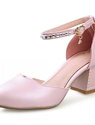 Zapatos de mujer-Tacón Robusto-Tacones-Tacones-Exterior / Oficina y Trabajo / Vestido-Semicuero-Azul / Rosa / Blanco