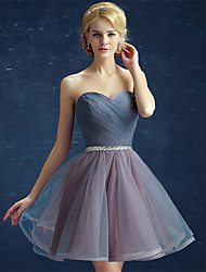 Ball Gown Strapless Short / Mini Satin Tulle Prom Dress with Sequins