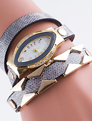 Women's European Style Retro New Fashion Rhinestone Leather Wrapped Bracelet Watch Cool Watches Unique Watches