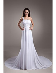 A-line Wedding Dress Simply Sublime Court Train One Shoulder Chiffon Satin with Beading Draped