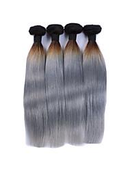 """3pcs / lot 10 """"-28"""" grises ombre extensiones de cabello humano de plata del pelo recto de dos tonos ombre armadura gris pelo virginal"""