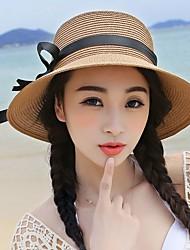 Women Cute Casual Seaside Summer Beach Straw Curling Ribbon Bow Holiday Hat