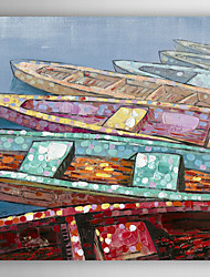Hand Painted Oil Painting Landscape Colorful Ship I with Stretched Frame 7 Wall Arts®