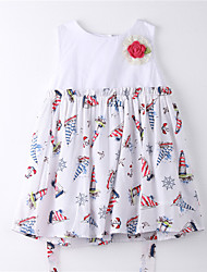 Girl's Print Dress,Cotton Summer White