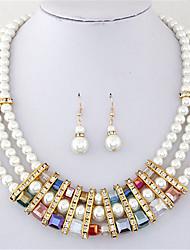 Conjunto de Jóias Colar / Brincos Cristal Moda Europeu Multi Camadas Pérola imitação de diamante Arco-Íris Colares Brincos ParaFesta