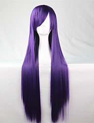 Europe And The United States The New Color Wig 80 CM Wide Purple Long Straight Hair Wigs