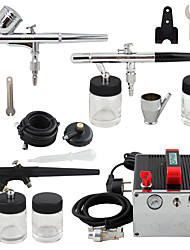 OPHIR 0.3mm 0.35mm 0.8mm 3-Airbrush Kit Dual Single Action with Air Compressor for Hobby Cake Decoration