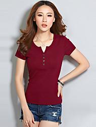 Women's Solid Red / White / Green T-shirt,V Neck Short Sleeve