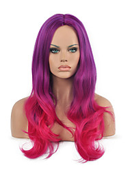 Two Tone Color Purple And Fuxia Long Wavy Hair Cosplay Synthetic Wig