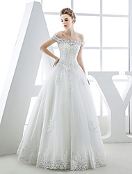 Ball Gown Wedding Dress-Floor-length Bateau Tulle