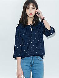 Damen Punkt T-shirt - Polyester ¾-Arm Rundhalsausschnitt