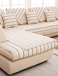 Cotton/linen old coarse Slip-resistant Slipcover Fashion Four Seasons Fabric Sofa Cushion Beige Stripe