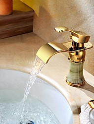 Brass & Jade Deck Mount Waterfall Basin Faucet Single Handle Hot Cold Bathroom Sink Mixer Taps Ti-PVD