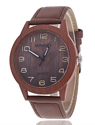 Women/Men's Wooden Leather Band Analog Round Case  Wrist Watch Jewelry Fashion Watch