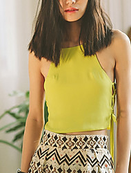 SINCE THEN Women's Solid Green Tanks,Strap Sleeveless