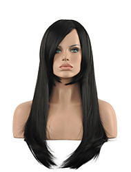 Natural Long Length Black Color Popular Synthetic Wig For Woman