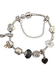 Femme Chaînes & Bracelets Charmes pour Bracelets Résine Strass Alliage Mode Forme de Coeur Argent Bijoux 1pc