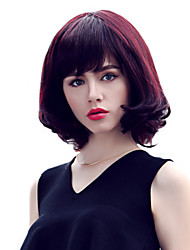 Stylish Medium Length Wavy Hair Remy Human Hair hand Tied Top Bob Woman's wig