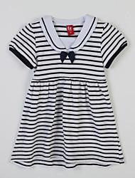 Girl's Striped Dress,Cotton Summer Black / Red
