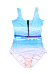 Women's Bandeau One-piece,Floral Polyester Light Blue