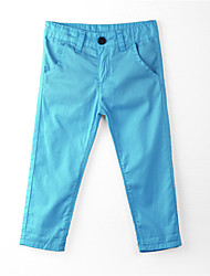 Girl's Solid Pants,Cotton Summer Blue