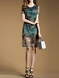 Women's Chinoiserie Print Plus Size Dress,Peaked Lapel Knee-length Silk