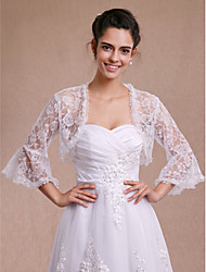 Women's Wrap Shrugs 3/4-Length Sleeve Lace Ivory Wedding Party/Evening Casual Lace Open Front