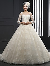 A-line Wedding Dress Chapel Train Jewel Lace with Appliques
