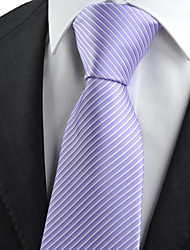 KissTies Men's Necktie Purple Lavender Violet Striped Wedding/Business/Work/Formal/Casual Tie With Gift Box