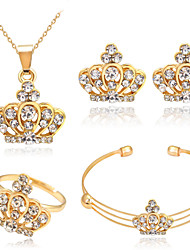 Strass Rose Gold überzogen Aleación Kronenform Golden Halsketten Ohrringe Ringe Armband Für Party Alltag 1 Set Hochzeitsgeschenke