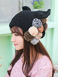 Women Lovely Fur Ball Decorated Devil Angle Orecchiette Wool Knit Hat