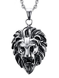 Men's Pendant Necklaces Pendants Animal Shape Lion Titanium Steel Personalized Punk Costume Jewelry Jewelry For Party Daily Casual