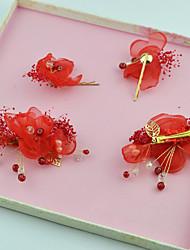 Mulheres Imitação de Pérola Tecido Capacete-Casamento Ocasião Especial Flores Clip para o Cabelo 4 Peças