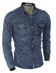 2016 Hot Men's Denim Shirts Fashion Man Jeans Shirts Cowboy Cotton Simple Style Long Sleeve Men Casual Shirt