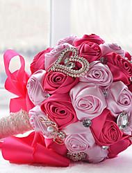 Bouquets de Noiva Redondo Rosas / Peônias Buquês Casamento / Festa / noite Poliéster / Cetim / Organza / Renda / Enfeite / Espuma / Strass
