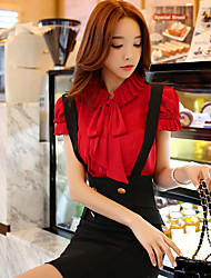 Women's Solid Red / White Blouse,Ruff Collar Short Sleeve