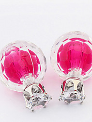 Korean Fashion Transparent Glass Bulb Color Crystal Ball Double-sided Earrings