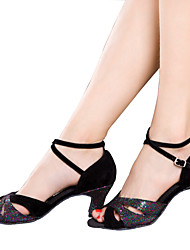 Women's Dance Shoes Latin Velvet / Sparkling Glitter / Paillette / Taffeta / Synthetic Cuban HeelBlack / Blue / Silver /