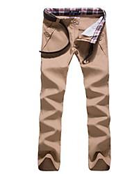 Masculino Chinos Calças-Cor Única Casual Simples Algodão Poliéster Com Molas Outono