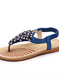 Women's Shoes PU Flat Heel Flip Flops / Mary Jane Sandals Outdoor / Casual Blue / White