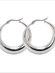 women Titanium Steel SLIVER Hoop Earrings