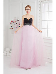 Prom Formal Evening Dress - Color Block Ball Gown Sweetheart Floor-length Tulle with Beading Side Draping
