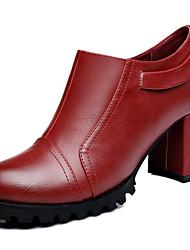 Women's Shoes Leatherette Chunky Heel Heels Heels Wedding / Office & Career / Dress Black / Burgundy
