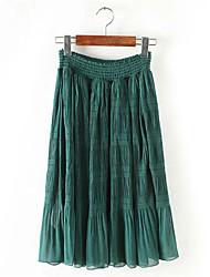 Jupes Aux femmes Maxi Street Chic Polyester Non Elastique