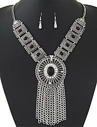 Women European Style Fashion Simple Hollow Gem Tassel Short Necklace Earring Sets